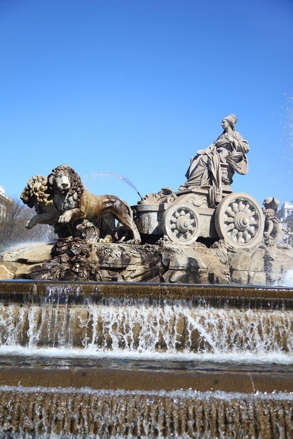 Fontana di Cibeles al quadrato di Cibeles a Madrid fotografia stock libera da diritti