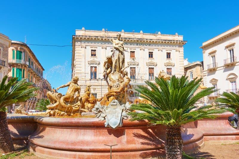 Fontana di Diana a Siracusa fotografia stock libera da diritti