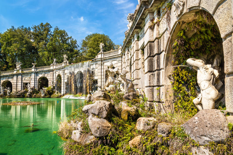 Fontana di Eolo at the Royal Palace of Caserta. Italy royalty free stock images