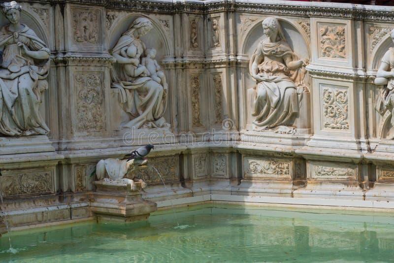 Fontana di Fonte Gaia di gioia, con vergine Maria ed il bambino Gesù Quadrato di Piazza del Campo Campo fotografia stock libera da diritti