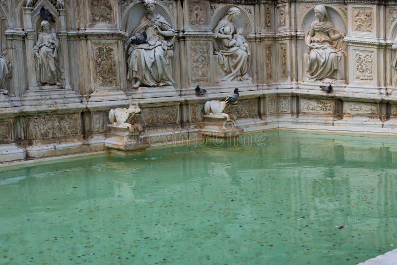 Fontana di Fonte Gaia di gioia, con vergine Maria ed il bambino Gesù Quadrato di Piazza del Campo Campo fotografie stock