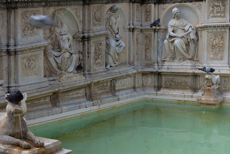 Fontana di Fonte Gaia di gioia, con vergine Maria ed il bambino Gesù Quadrato di Piazza del Campo Campo immagini stock libere da diritti
