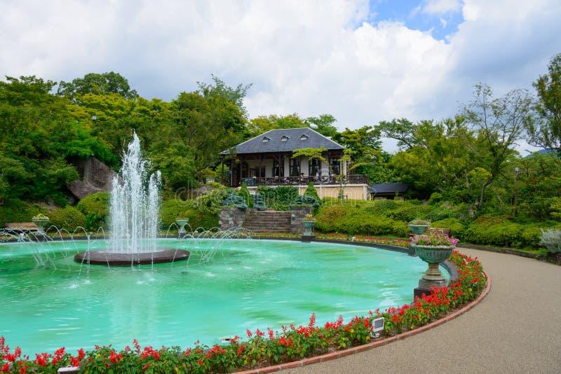 Fontana di Gora Park a Hakone, Kanagawa, Giappone fotografia stock