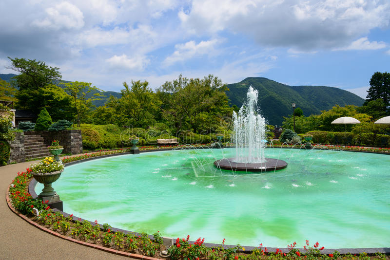 Fontana di Gora Park a Hakone, Kanagawa, Giappone fotografia stock libera da diritti