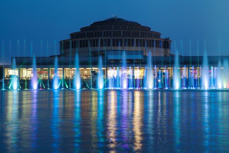 Fontana di multimedia di Wroclaw immagine stock libera da diritti