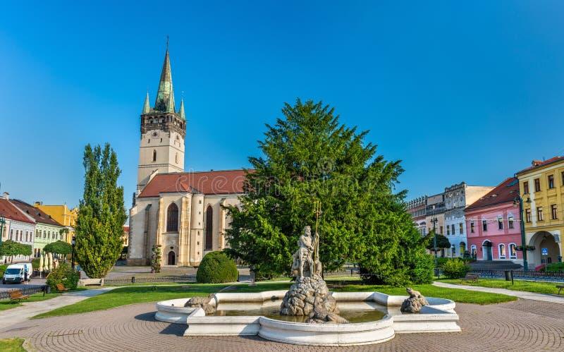 Fontana di Nettuno e cattedrale di San Nicola in Presov, Slovacchia immagine stock