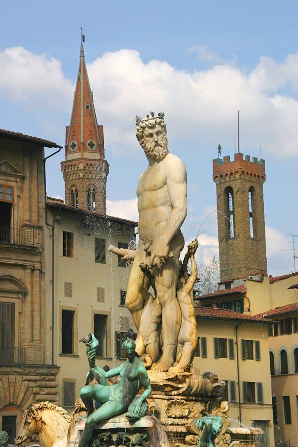 Fontana di Nettuno a Firenze, Italia. fotografie stock