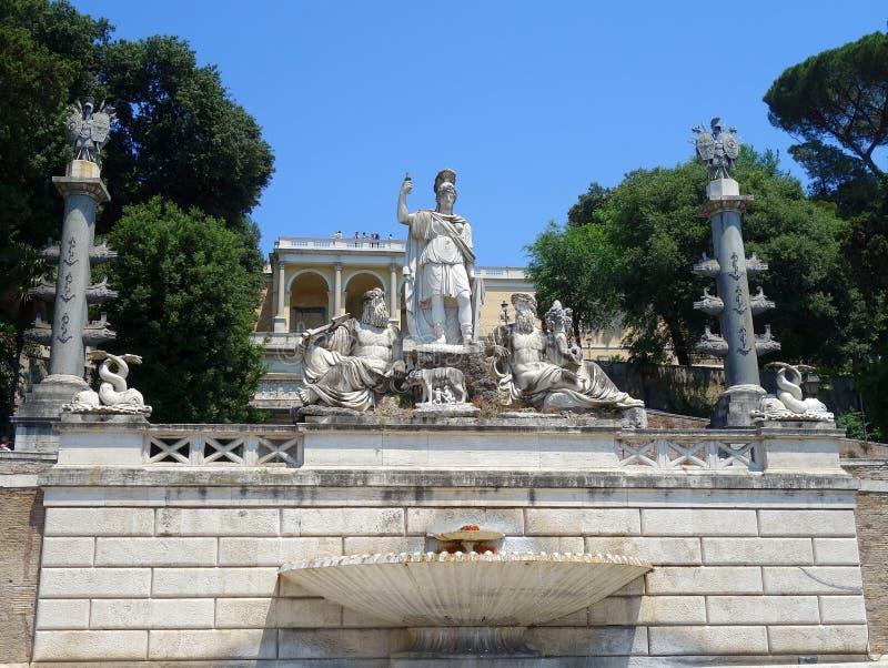 Fontana di Nettuno, Piazza del Popolo, Roma immagine stock libera da diritti