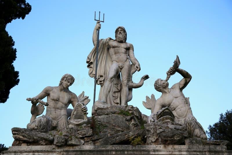 Fontana di Nettuno in Piazza del Popolo, Roma, Italia fotografia stock