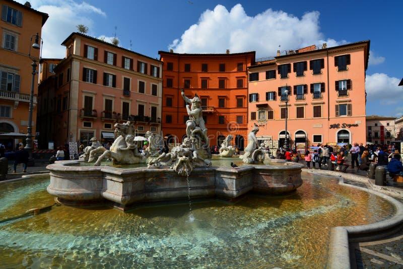 Fontana di Nettuno. Piazza Navona, Roma, Italia immagini stock