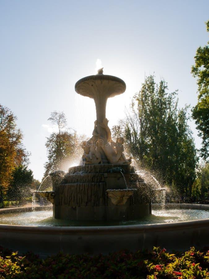 Fontana di pagos del ¡ di Galà al parco di EL Retiro immagine stock