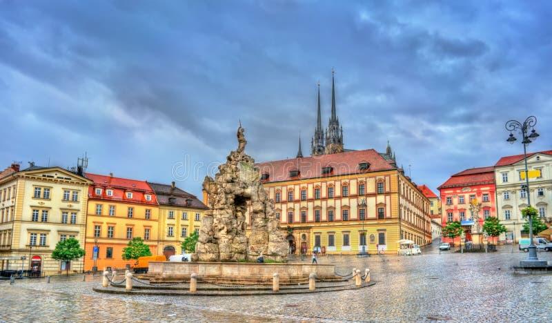 Fontana di Parnas sul quadrato del trh di Zerny nella vecchia città di Brno, repubblica Ceca fotografia stock