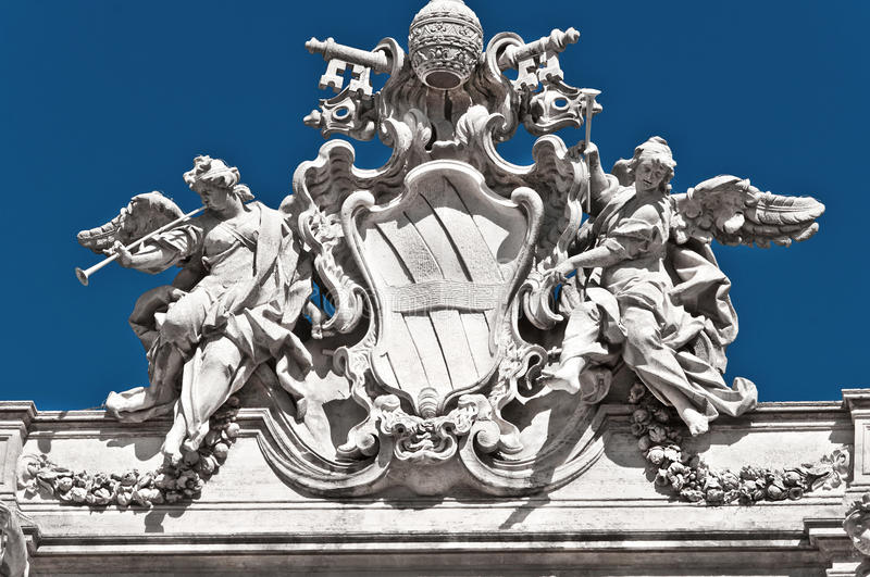 Fontana di trevi, detrail, Roma. Architectural detail of fontana di Trevi, Rome, Italy, he largest Baroque fountain in the city royalty free stock image
