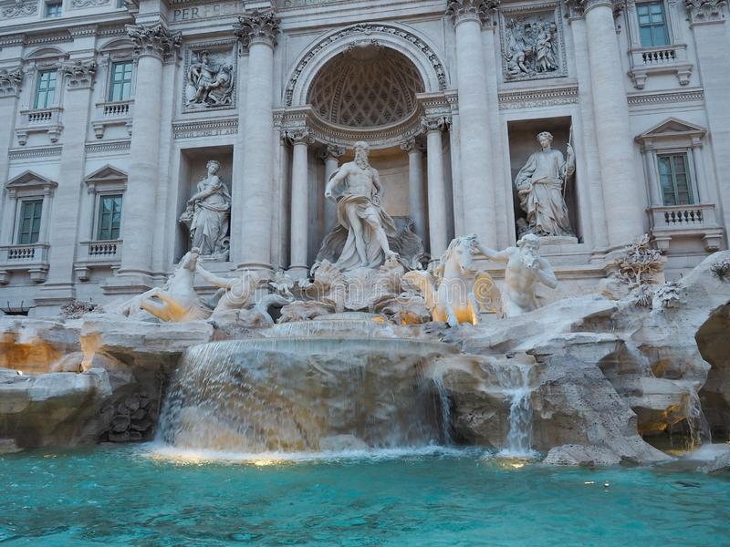 Fontana di Trevi, a popular tourist destination in Italy with beauty and elegance. Fountain rome city italian baroque roma travel architecture europe landmark stock photography