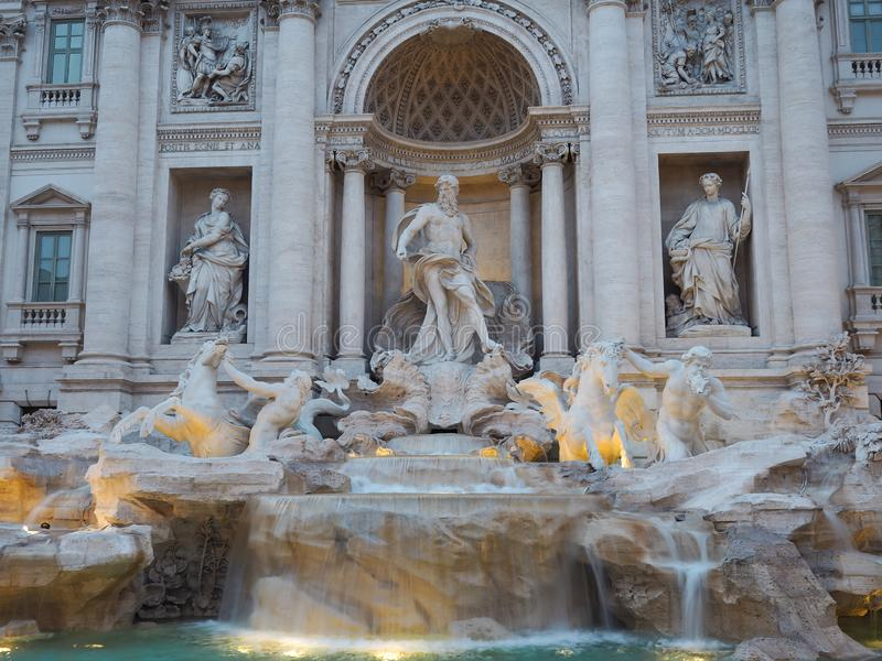 Fontana di Trevi, a popular tourist destination in Italy with beauty and elegance. Fountain rome city italian baroque roma travel architecture europe landmark royalty free stock images