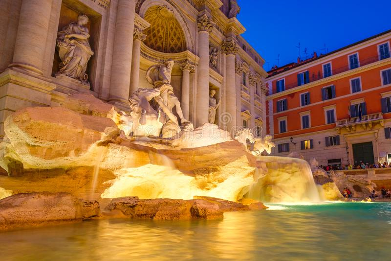 The Fontana di Trevi in Rome illuminated at night. The famous Fontana di Trevi in Rome illuminated at night stock photography
