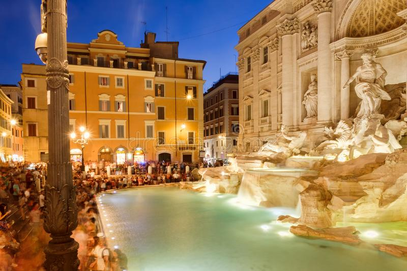 The Fontana di Trevi in Rome illuminated at night. ROME,ITALY - JULY 21,2017 : The Fontana di Trevi in Rome illuminated at night stock images