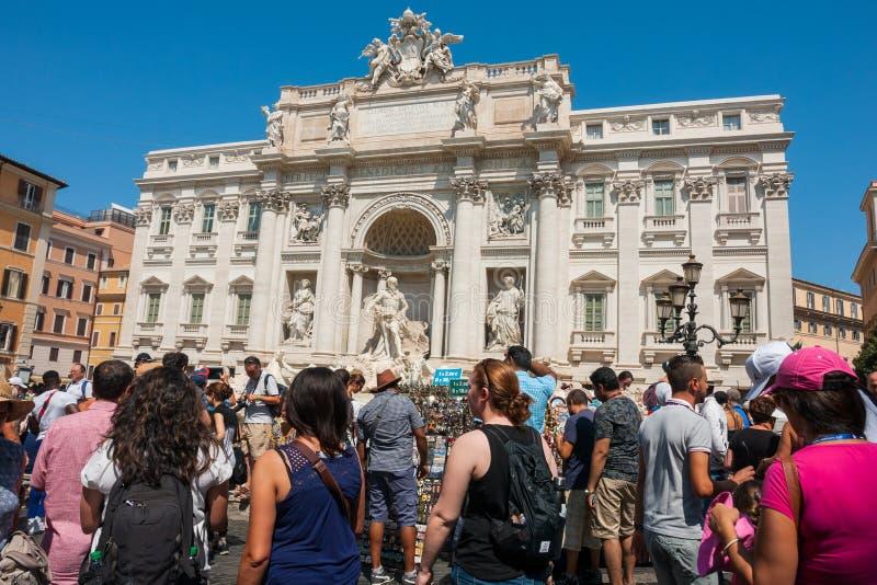 Fontana di trevi. ROME, ITALY. People near the Trevi fountain Fontana di Trevi, Rome, Italy stock image