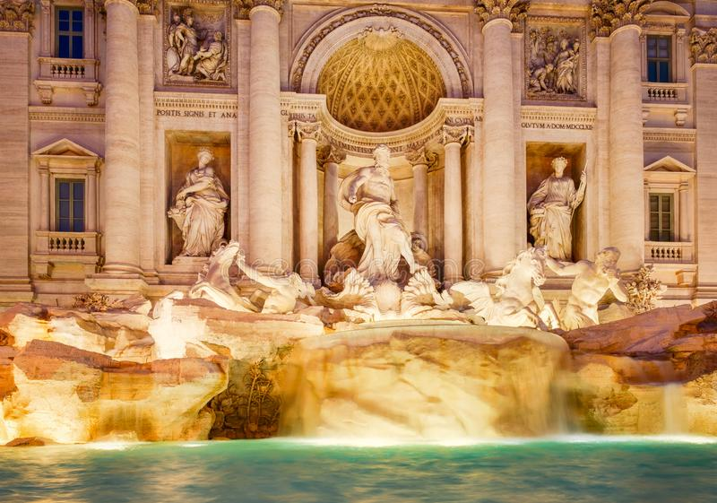 The Fontana di Trevi in Rome at night. The Fontana di Trevi in Rome illuminated at night royalty free stock image
