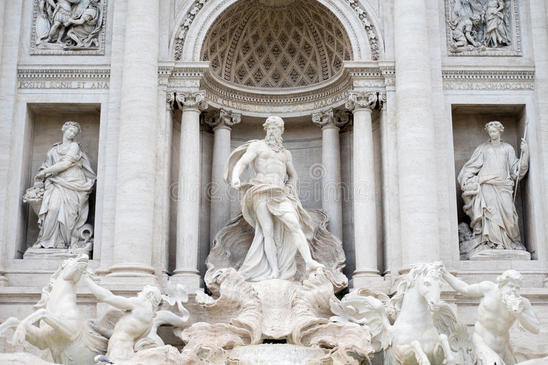 The Fontana di Trevi or Trevi Fountain royalty free stock photos