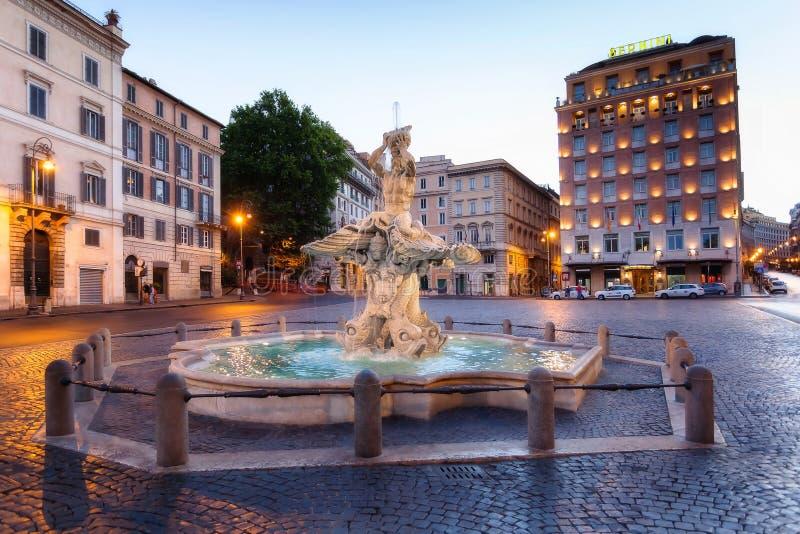 Fontana di Tritone in piazza Barberini immagine stock libera da diritti
