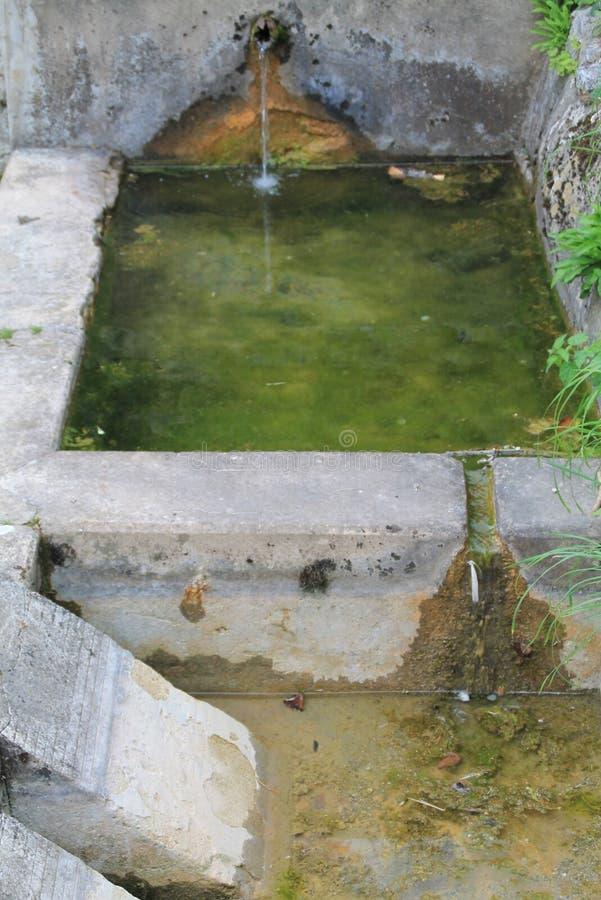 Fontana e fosso per il lavaggio del minerale in Camarmeña, Cabrales, Spagna fotografia stock
