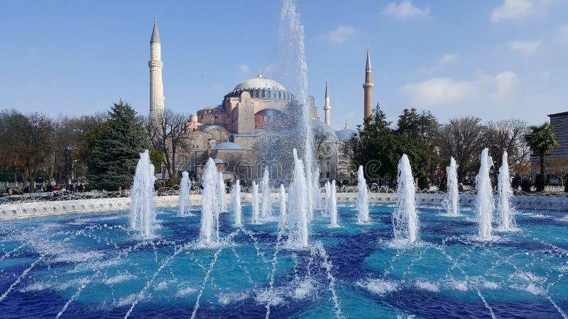 Fontana e Sultan Hamet Mosque o moschea blu a Costantinopoli, Turchia fotografia stock libera da diritti
