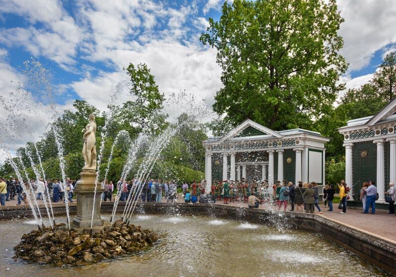 Fontana Eva nel parco più basso di Peterhof Sankt Pietroburgo, Russia immagine stock libera da diritti