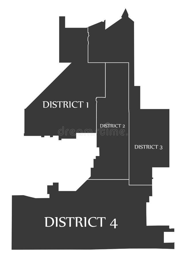 Fontana Kalifornia miasta mapy usa przylepiał etykietkę czarną ilustrację ilustracja wektor