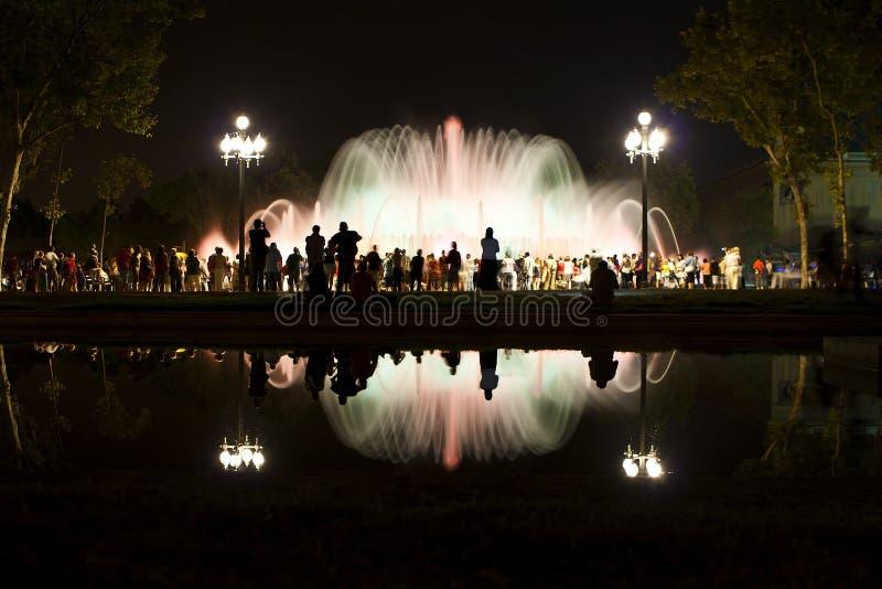 Fontana magica di Barcellona di Montjuic immagine stock libera da diritti