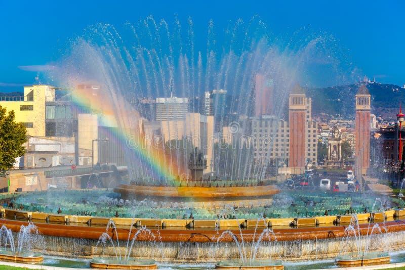 Fontana magica di Montjuic a Barcellona, Spagna immagini stock libere da diritti