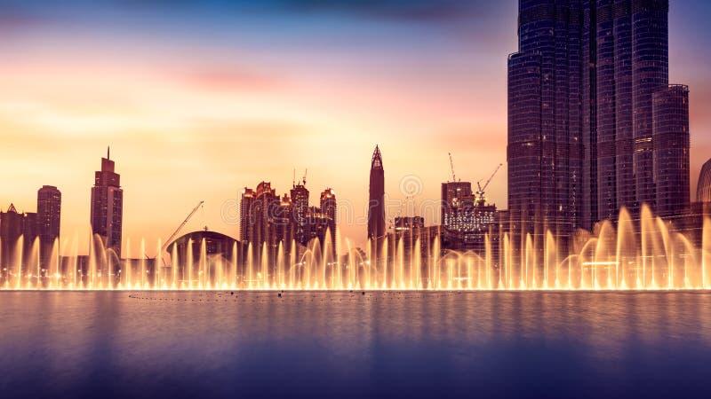 Fontana musicale del Dubai fotografia stock