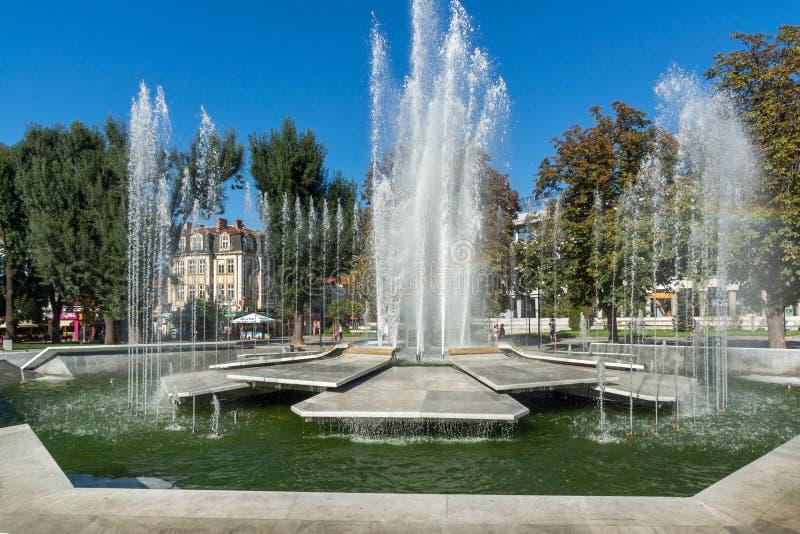 Fontana nel centro di Pleven, Bulgaria fotografie stock
