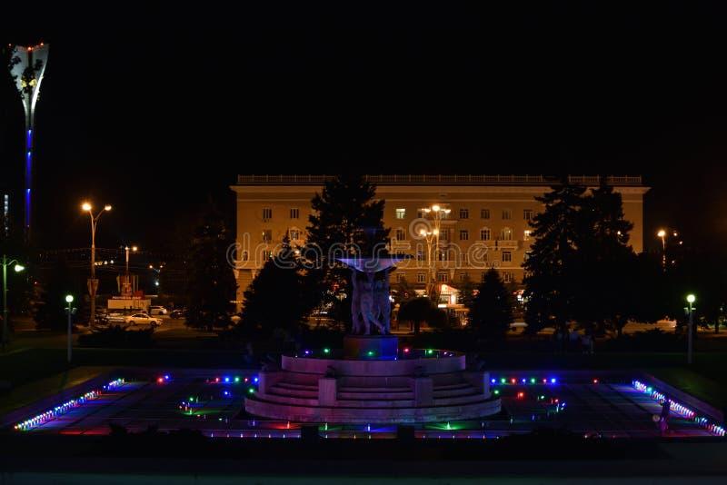 Fontana nel quadrato principale di Rostov-On-Don fotografia stock libera da diritti