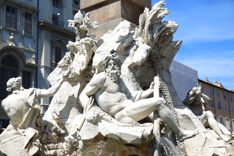 Fontana Zeus in Bernini, piazza Navona a Roma, Italia immagini stock libere da diritti