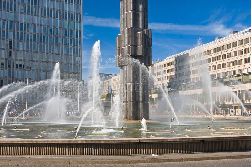 Fontane al quadrato di Sergels, Stoccolma immagine stock