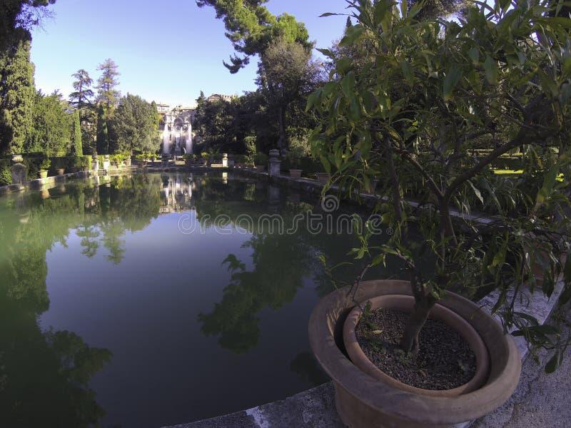 Fontane del Nettuno e dell'Organo di Villa D'Estera a Tivoli - Roma - Italia fotografie stock libere da diritti
