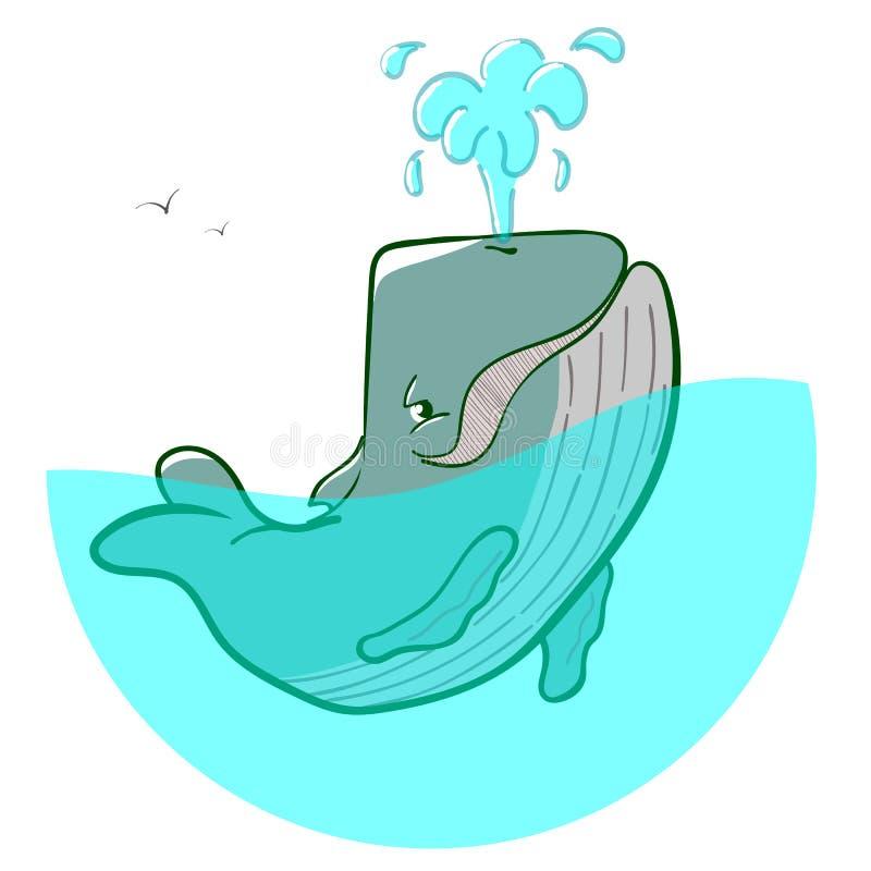 Fontane della balena blu di logo immagini stock