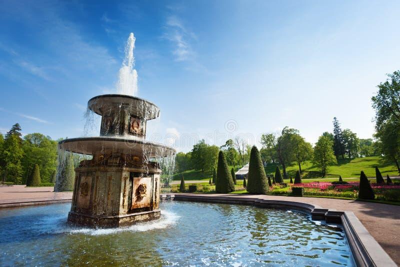 Fontane romane nel parco più basso di Peterhof immagini stock