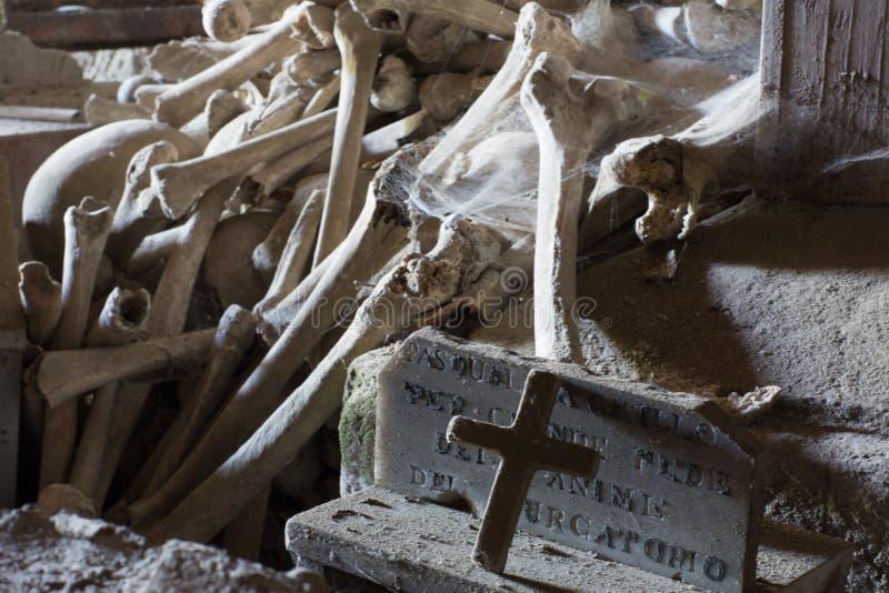 Fontanel kyrkogård, i Naples, Italien arkivbild