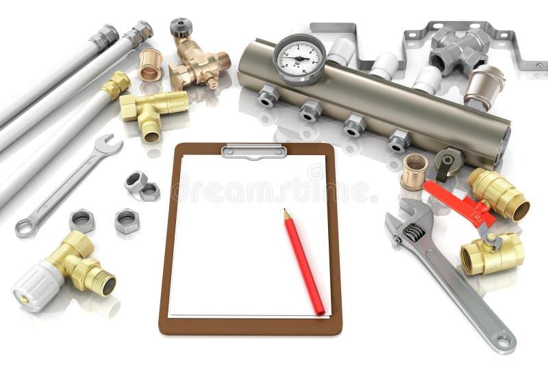 Fontanería y herramientas con un cuaderno fotografía de archivo libre de regalías