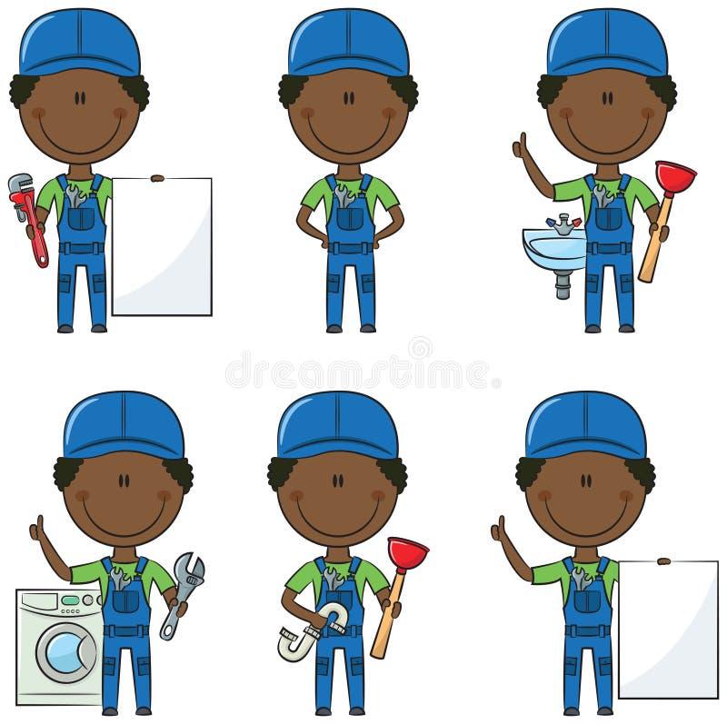 Fontanero afroamericano stock de ilustración