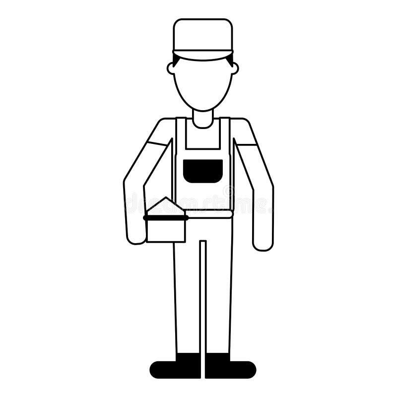 Fontanero con el avatar profesional del trabajador de la caja de herramientas en blanco y negro ilustración del vector
