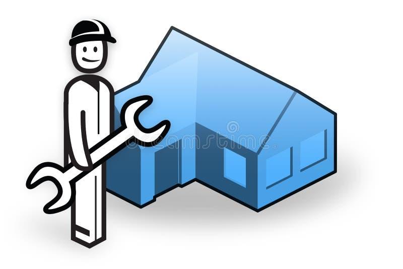 Fontanero delante de poca casa stock de ilustración