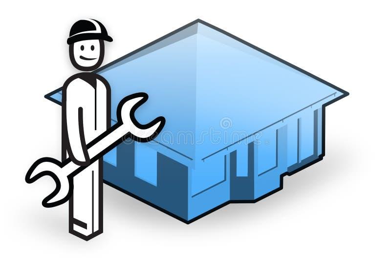 Fontanero delante de poca casa libre illustration