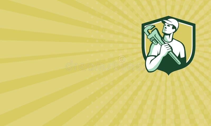 Fontanero Wrench Shield Retro del comerciante de la tarjeta de visita libre illustration