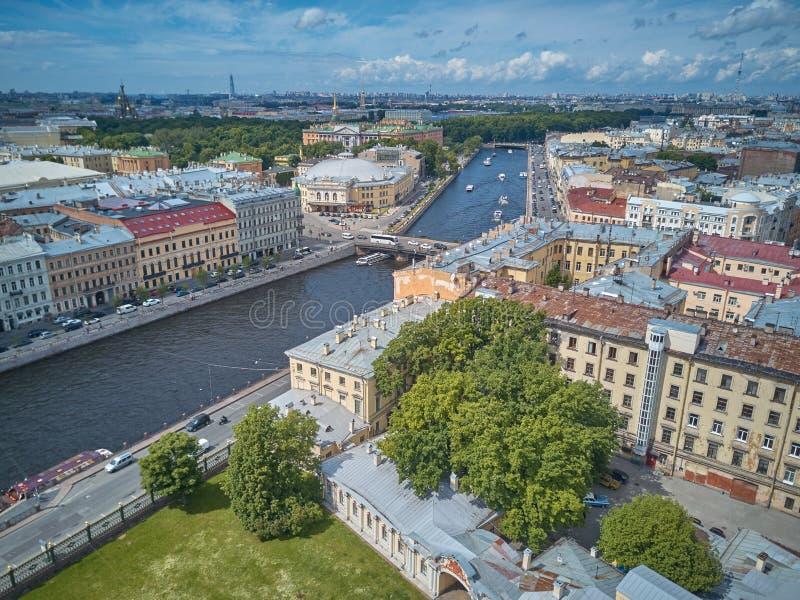 Fontanka河,圣彼得堡,俄罗斯的鸟瞰图 免版税库存图片