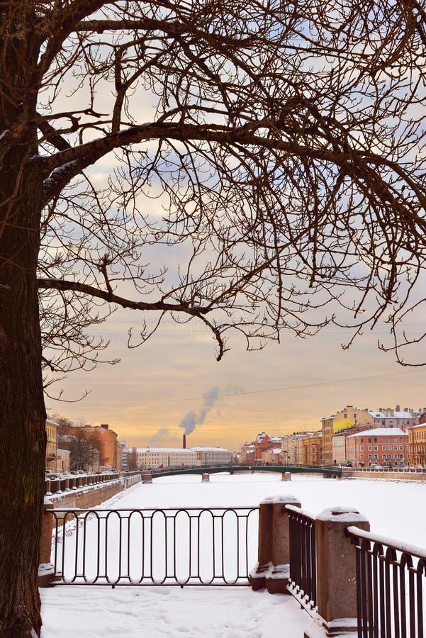 Fontanka bulwaru zimy Rzeczny wieczór obraz stock