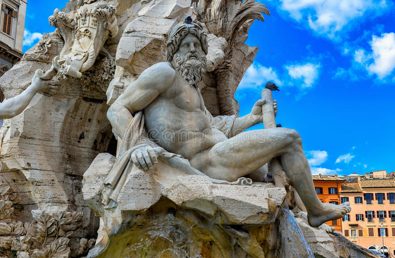 Fontanna Cztery rzek Fontana dei Quattro Fiumi z Egipskim obeliskiem na piazza Navona, Rzym fotografia royalty free