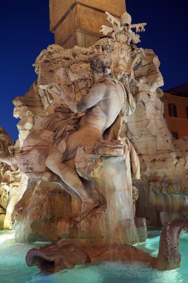 Fontanna Cztery rzeki w piazza Navona w Rzym, W?ochy zdjęcie royalty free